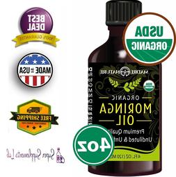 ORGANIC MORINGA OIL 4 Oz Cold Pressed For Face Body and Hair